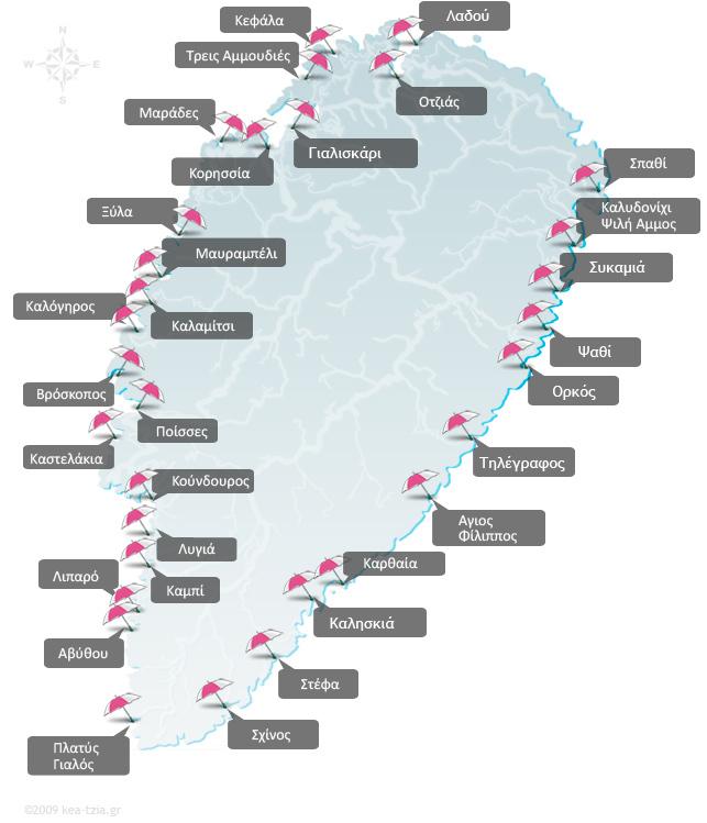 χάρτης με όλες τις παραλίες στην Κέα